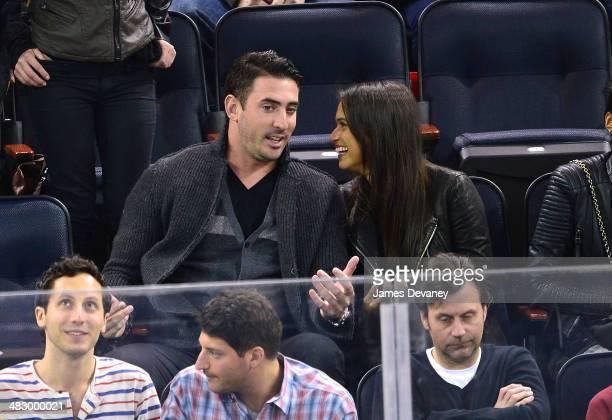 Matt Harvey and Asha Leo attend Ottawa Senators vs New York Rangers game at Madison Square Garden on April 5 2014 in New York City