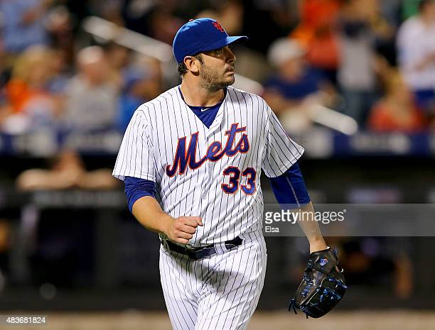 Matt Harvey of the New York Mets celebrates the final out of the eighth inning against the Colorado Rockies on August 11 2015 at Citi Field in the...