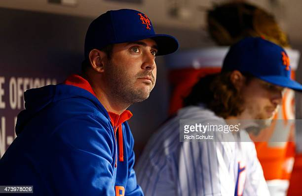 Matt Harvey of the New York Mets looks on from the dugout during a game against the Milwaukee Brewers on May 16 2015 at Citi Field in the Flushing...