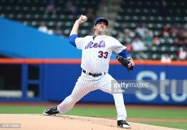 Matt Harvey of the New York Mets pitches against the Atlanta Braves during their game at Citi Field on April 27 2017 in New York City