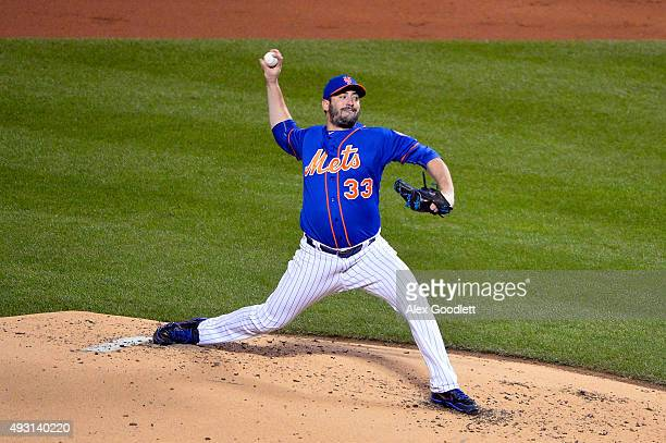 Matt Harvey of the New York Mets pitches against the Chicago Cubs during game one of the 2015 MLB National League Championship Series at Citi Field...