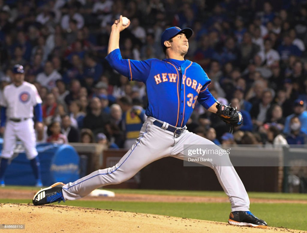Matt Harvey #33 of the New York Mets pitches against the Chicago Cubs during the first inning on September 13, 2017 at Wrigley Field in Chicago, Illinois.
