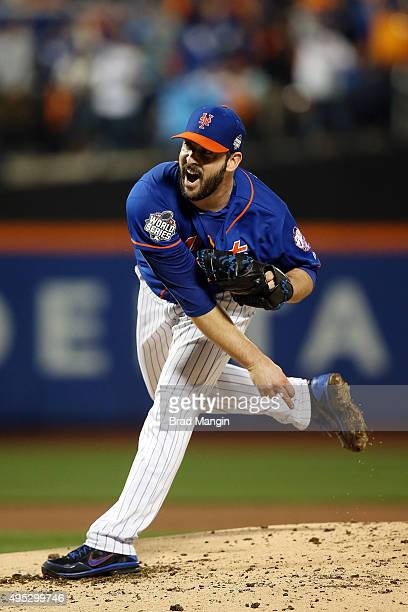 Matt Harvey of the New York Mets pitches against the Kansas City Royals during Game 5 of the 2015 World Series at Citi Field on Sunday November 1...