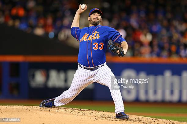 Matt Harvey of the New York Mets pitches during Game 1 of the NLCS against the New York Mets at Citi Field on Saturday October 17 2015 in the Queens...