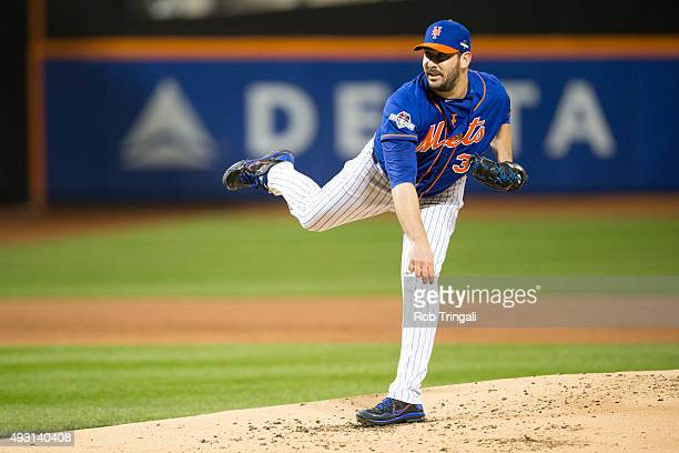 Matt Harvey of the New York Mets pitches during Game 1 of the NLCS against the Chicago Cubs at Citi Field on Saturday October 17 2015 in the Queens...