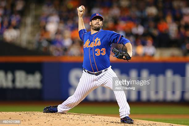 Matt Harvey of the New York Mets pitches during Game 3 of the NLDS against the Los Angeles Dodgers at Citi Field on Monday October 12 2015 in the...