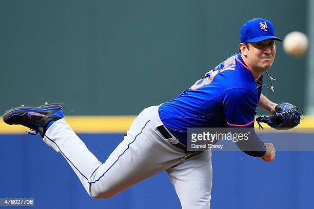 Matt Harvey of the New York Mets pitches during the first inning against the Atlanta Braves at Turner Field on June 21 2015 in Atlanta Georgia