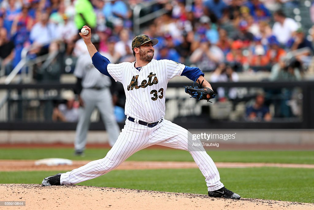 <a gi-track='captionPersonalityLinkClicked' href=/galleries/search?phrase=Matt+Harvey+-+Baseball+Player&family=editorial&specificpeople=10881867 ng-click='$event.stopPropagation()'>Matt Harvey</a> #33 of the New York Mets pitches during the game against the Chicago White Sox at Citi Field on Monday, May 30, 2016 in the Queens borough of New York City.