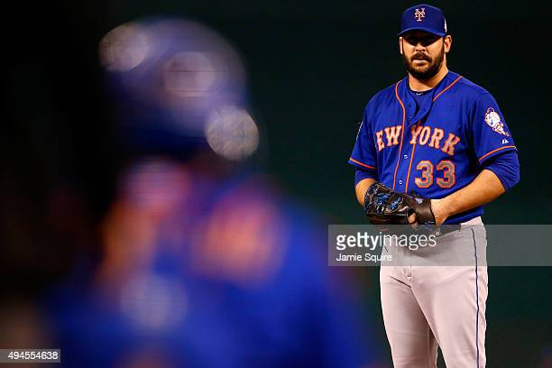 Matt Harvey of the New York Mets prepares to throw a pitch in the first inning against the Kansas City Royals during Game One of the 2015 World...