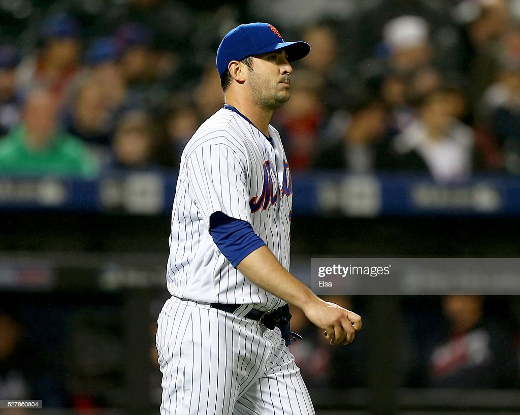 Matt Harvey #33 of the New York Mets reacts after A.J. Pierzynski #15 of the Atlanta Braves scores a run on a wild pitch in the sixth inning at Citi Field on May 3, 2016 in the Flushing neighborhood of the Queens borough of New York City.