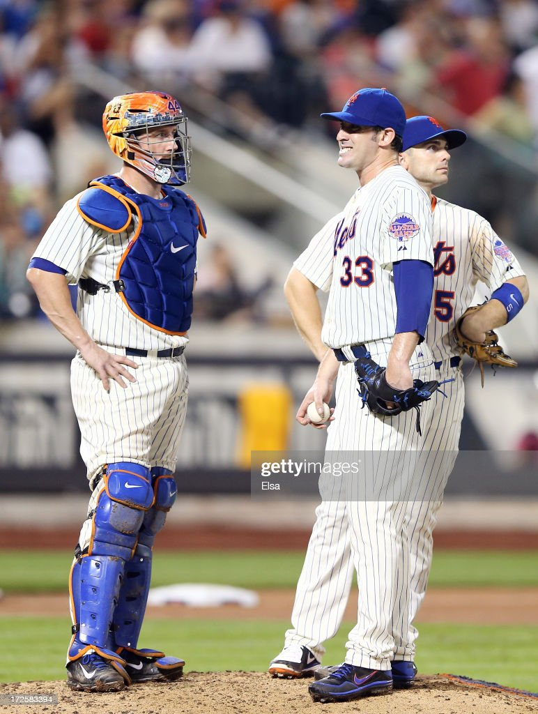 Matt Harvey #33 of the New York Mets reacts as he is about to be pulled from the game while teammates John Buck #44 and David Wright #5 stand by in the seventh inning against the Arizona Diamondbacks on July 3, 2013 at Citi Field in the Flushing neighborhood of the Queens borough of New York City.