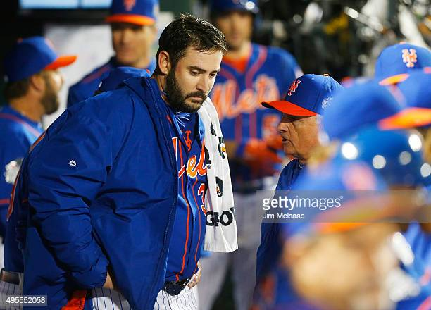 Matt Harvey of the New York Mets talks with manager Terry Collins after the eighth inning of game five of the 2015 World Series against the Kansas...
