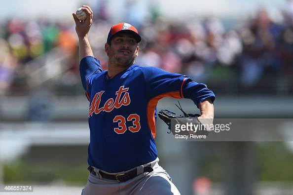 Matt Harvey of the New York Mets throws a pitch during a spring training game against the Boston Red Sox at JetBlue Park at Fenway South on March 16...