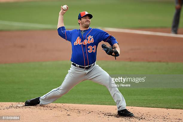 Matt Harvey of the New York Mets throws a pitch during a spring training game against the Miami Marlins at Roger Dean Stadium on March 13 2016 in...