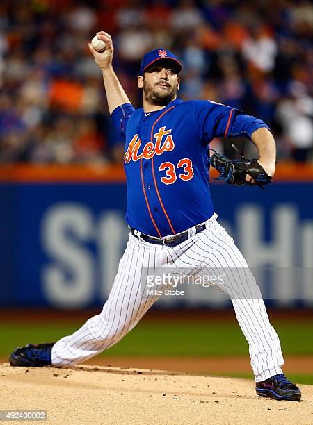 Matt Harvey of the New York Mets throws a pitch in the first inning against the Los Angeles Dodgers during game three of the National League Division...