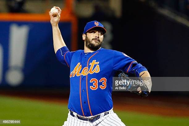 Matt Harvey of the New York Mets throws a pitch in the first inning against the Kansas City Royals during Game Five of the 2015 World Series at Citi...