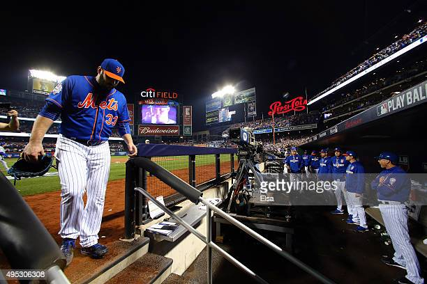 Matt Harvey of the New York Mets walks off the mound after being relieved in the ninth inning against the Kansas City Royals during Game Five of the...