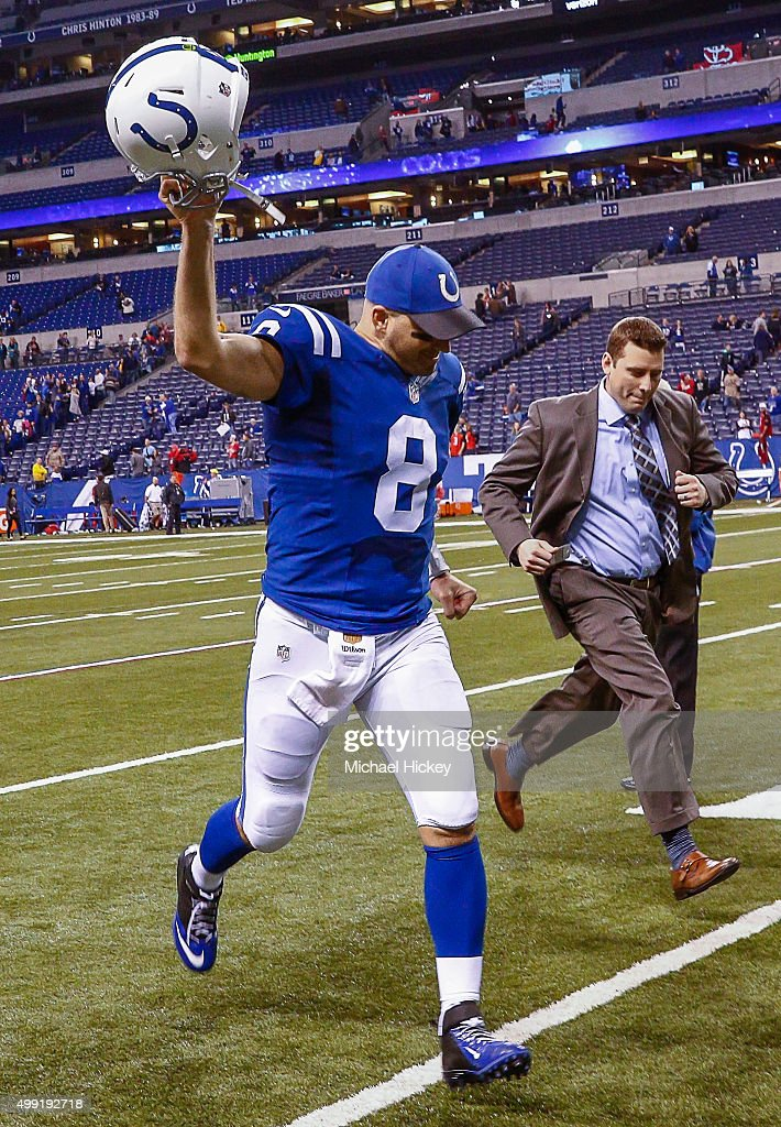 Matt Hasselbeck #8 of the Indianapolis Colts celebrates following the game against the Tampa Bay Buccaneers at Lucas Oil Stadium on November 29, 2015 in Indianapolis, Indiana. Indianapolis defeated Tampa Bay 25-12.
