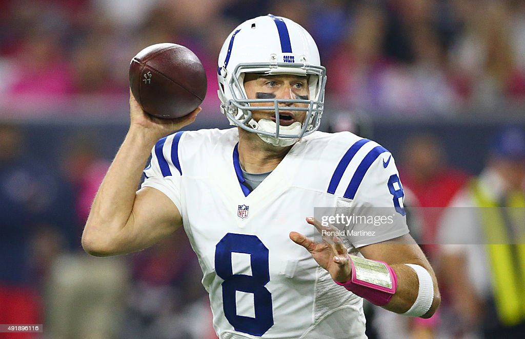 Matt Hasselbeck of the Indianapolis Colts scrambles against the Houston Texans on October 8 2015 at NRG Stadium in Houston Texas