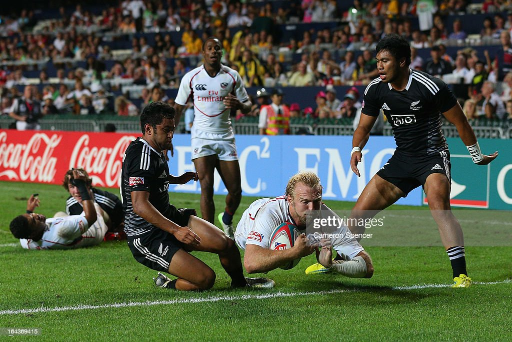 Matt Hawkins of the United States scores a try during the match between New Zealand and the United States during day two of the 2013 Hong Kong Sevens at Hong Kong Stadium on March 23, 2013 in So Kon Po, Hong Kong.