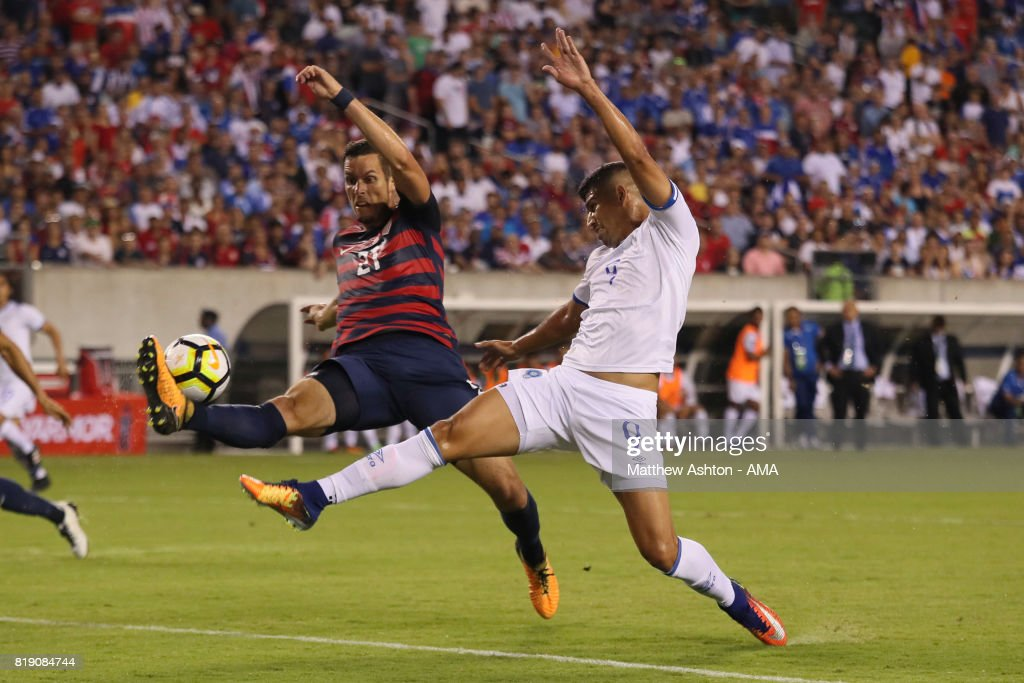 Matt Hedges of United States of America and Nelson Bonilla of El Salvador during the 2017 CONCACAF Gold Cup Quarter Final match between United States of America and El Salvador at Lincoln Financial Field on July 19, 2017 in Philadelphia, Pennsylvania.