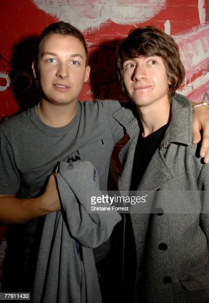 ACCESS *** Matt Helders and Alex Turner of Arctic Monkeys backstage at Night and Day on October 21 2007 in Manchester England