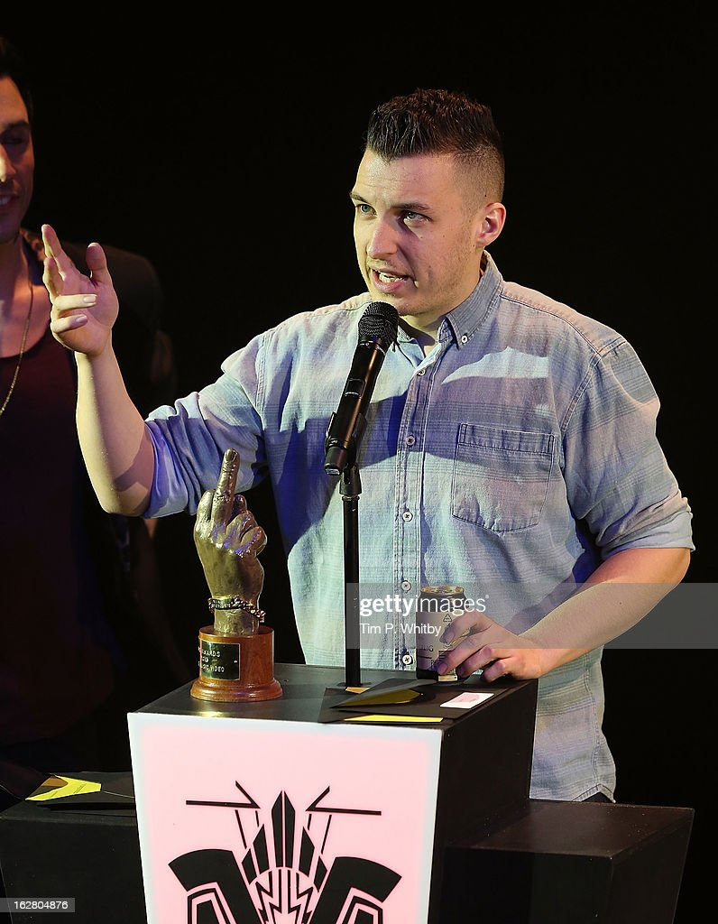 <a gi-track='captionPersonalityLinkClicked' href=/galleries/search?phrase=Matt+Helders&family=editorial&specificpeople=802484 ng-click='$event.stopPropagation()'>Matt Helders</a> of Arctic Monkeys collects the award for Best Music Video for 'R U Mine?' at the NME Awards 2013 at the Troxy on February 27, 2013 in London, England.