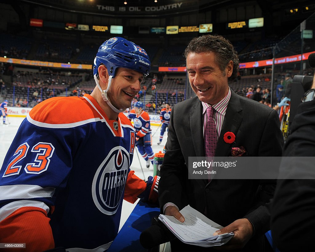 Matt Hendricks of the Edmonton Oilers is interviewed by Gene Principe of Sportsnet prior to a game against the Philadelphia Flyers on November 3 2015...