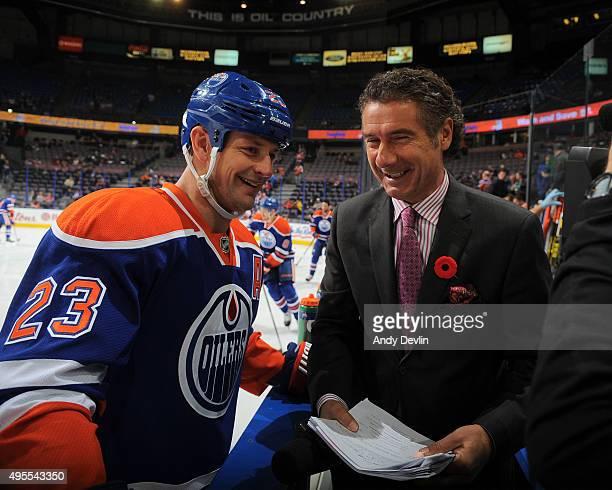 Matt Hendricks of the Edmonton Oilers is interviewed by Gene Principe of Sportsnet prior to a game against the Philadelphia Flyers on November 3 2015...