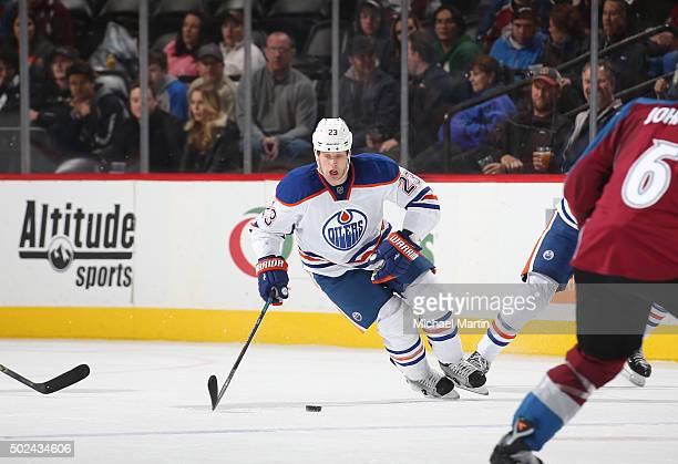 Matt Hendricks of the Edmonton Oilers skates against the Colorado Avalanche at the Pepsi Center on December 19 2015 in Denver Colorado