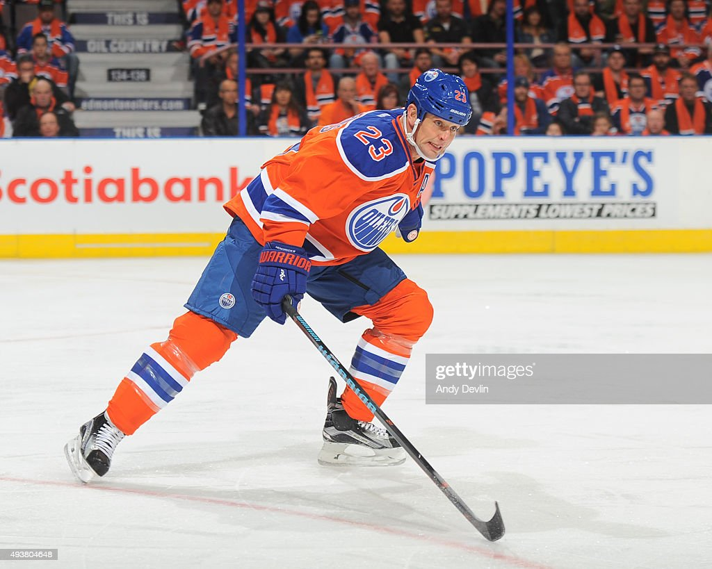 Matt Hendricks of the Edmonton Oilers skates during a game against the St Louis Blues on October 15 2015 at Rexall Place in Edmonton Alberta Canada