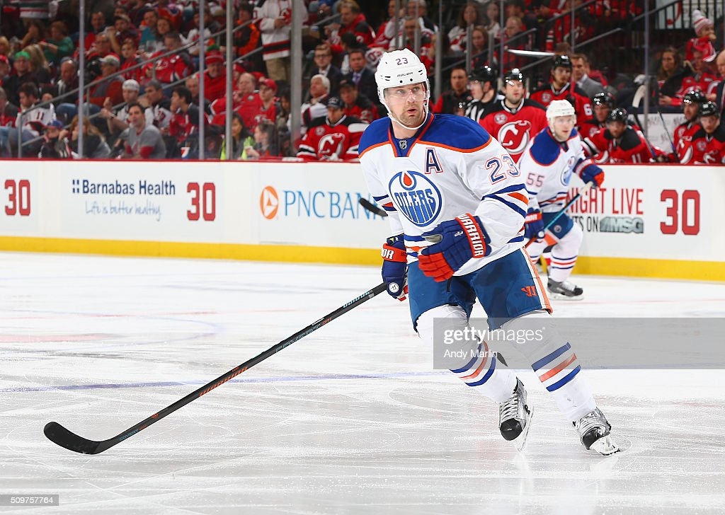 Matt Hendricks of the Edmonton Oilers skates during the game against the New Jersey Devils at the Prudential Center on February 9 2016 in Newark New...