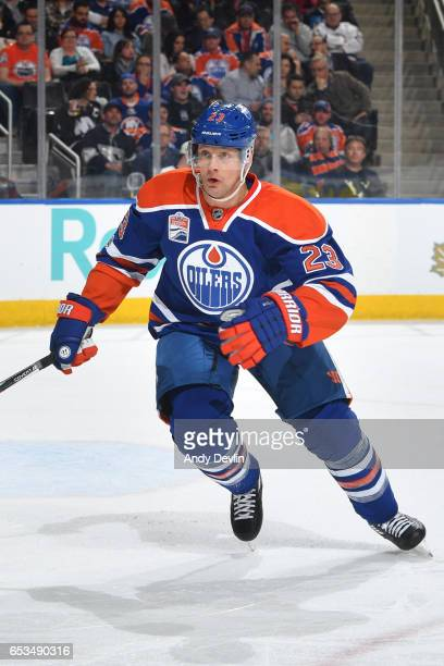 Matt Hendricks of the Edmonton Oilers skates during the game against the New York Islanders on March 7 2017 at Rogers Place in Edmonton Alberta Canada