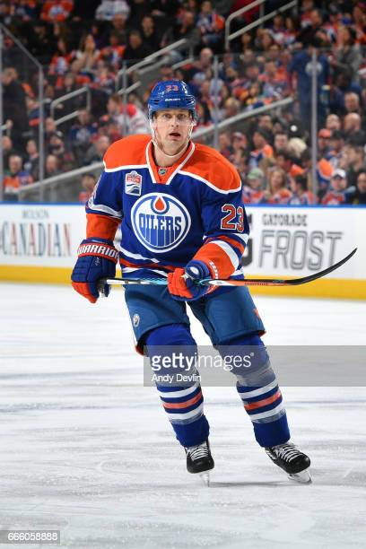 Matt Hendricks of the Edmonton Oilers skates during the game against the Los Angeles Kings on March 20 2017 at Rogers Place in Edmonton Alberta Canada
