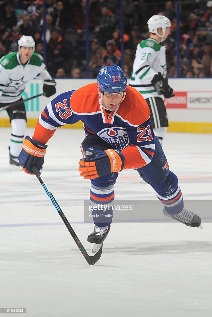 Matt Hendricks of the Edmonton Oilers skates on the ice during the game against the Dallas Stars on December 21 2014 at Rexall Place in Edmonton...