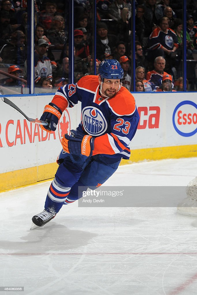 Matt Hendricks of the Edmonton Oilers skates on the ice during the game against the Anaheim Ducks on February 21 2015 at Rexall Place in Edmonton...
