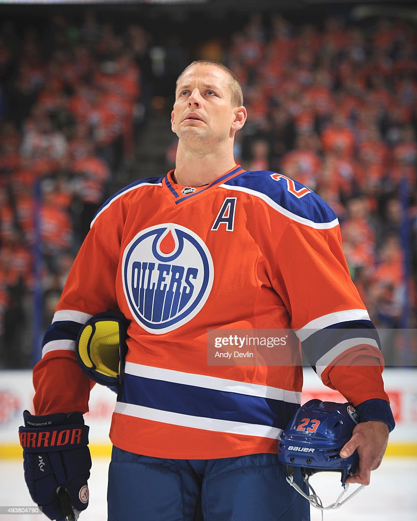 Matt Hendricks of the Edmonton Oilers stands for the sing of national anthem prior to a game against the St Louis Blues on October 15 2015 at Rexall...