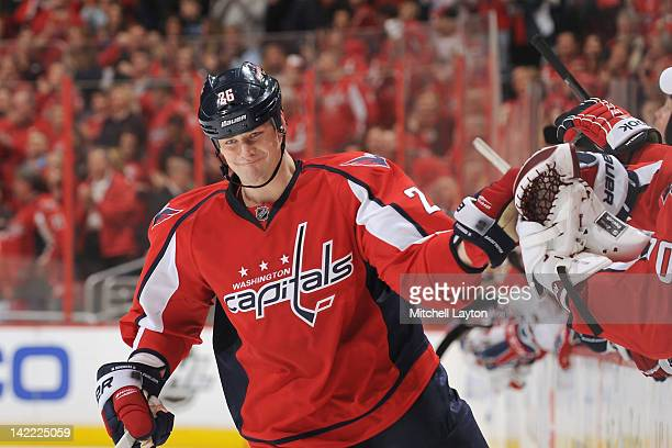 Matt Hendricks of the Washington Capitals celebrates a shootout goal during a NHL hockey game against the Montreal Canadiens on March 31 2012 at the...