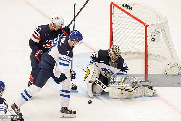 Matt Hendricks of USA and Esa Lindell of Finland battle for the puck during the IIHF World Championship group B match between USA and Finland at CEZ...