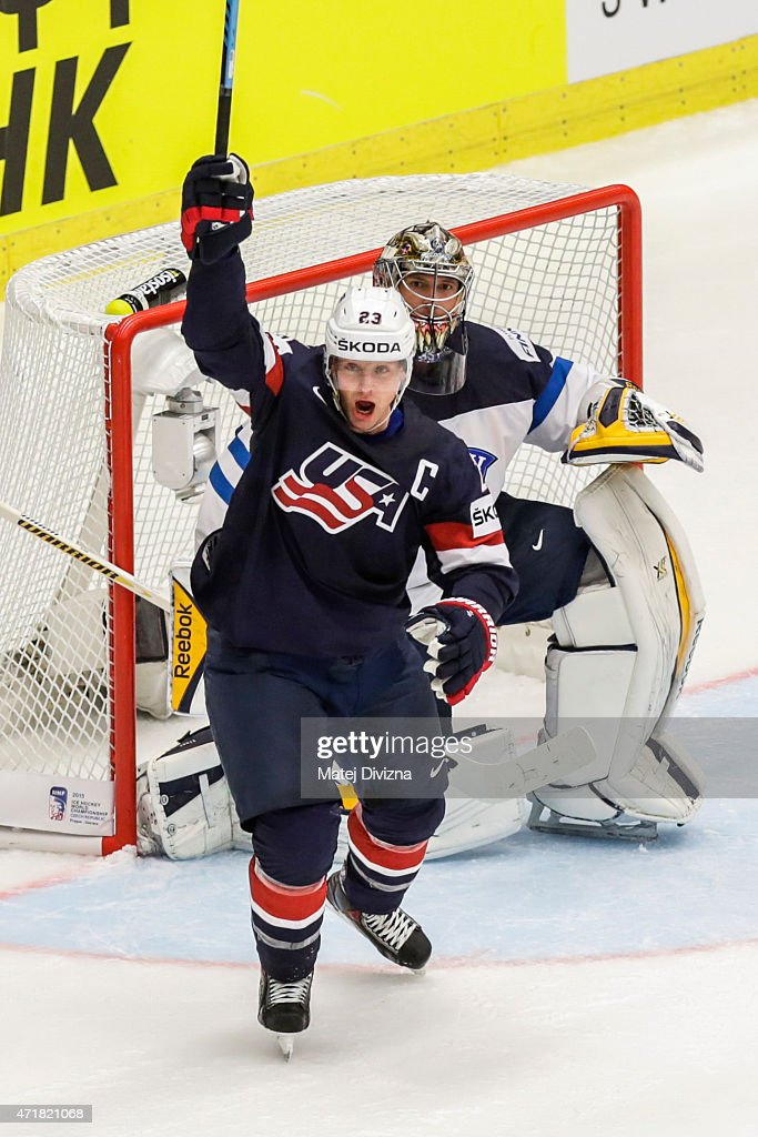 Matt Hendricks of USA celebrates goal of his teammates during the IIHF World Championship group B match between USA and Finland at CEZ Arena on May 1...