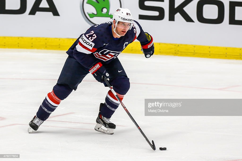 Matt Hendricks of USA in action during the IIHF World Championship quaterfinal match between USA and Switzerland at CEZ Arena on May 14 2015 in...