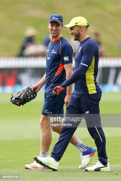 Matt Henry of New Zealand and Faf du Plessis of South Africa enjoy a laugh during day three of the test match between New Zealand and South Africa at...