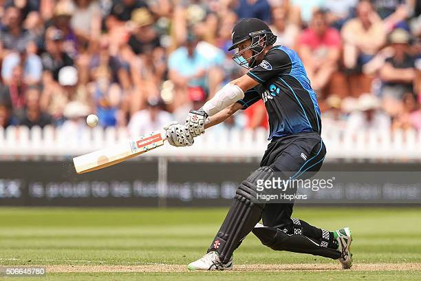Matt Henry of New Zealand bats during the One Day International match between New Zealand and Pakistan at Basin Reserve on January 25 2016 in...