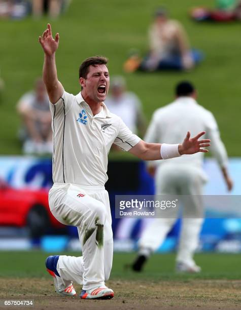 Matt Henry of New Zealand unsuccessfully appeals during day one of the Test match between New Zealand and South Africa at Seddon Park on March 25...