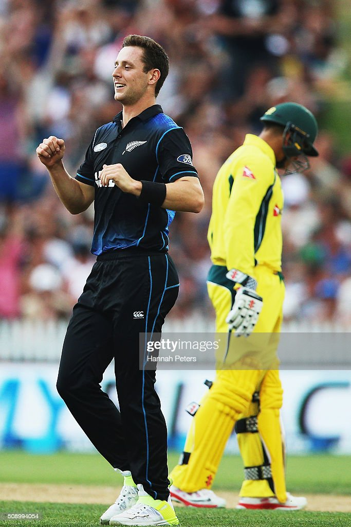 Matt Henry of the Black Caps celebrates the wicket of David Warner of Australia during the 3rd One Day International cricket match between the New Zealand Black Caps and Australia at Seddon Park on February 8, 2016 in Hamilton, New Zealand.