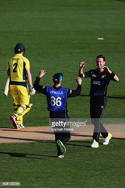 Matt Henry of the Black Caps celebrates the wicket of George Bailey of Australia during the One Day International match between New Zealand and...
