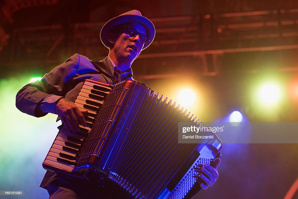 Matt Hensley of Flogging Molly performs on stage at Aragon Ballroom on January 26, 2013 in Chicago, Illinois.