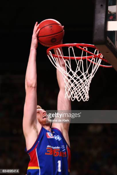 Matt Hodgson of the Adelaide 36ers dunks the ball during the round 19 NBL match between the Adelaide 36ers and the Cairns Taipans at Titanium...