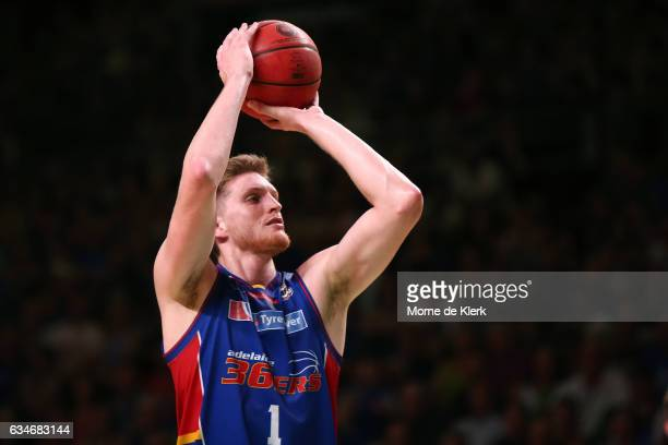 Matt Hodgson of the Adelaide 36ers shoots at the basket during the round 19 NBL match between the Adelaide 36ers and the Cairns Taipans at Titanium...