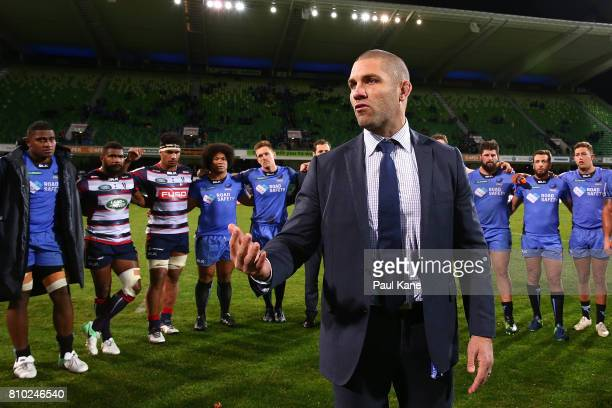Matt Hodgson of the Force addresses both the Force and Rebels players following the round 16 Super Rugby match between the Force and the Rebels at...